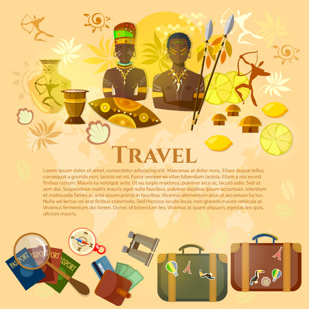 djembe: Travel to Africa banner Africa culture and traditions suitcase compass passport travel background vector illustration