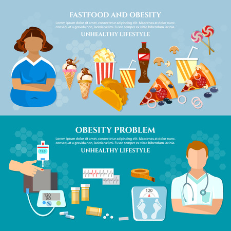 overeating: Obesity problems banner unhealthy eating nutritionist and diet fat woman vector illustration