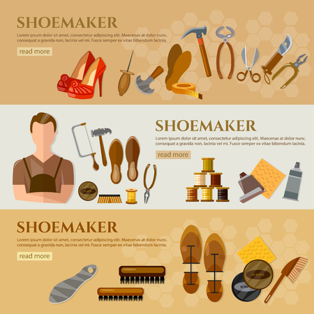 Professional cobbler shoe repair shoe care tools shoemaker vector illustration Stock Illustratie