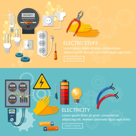 electric meter: Electricity banners installation of electric meter electrician tools vector illustration