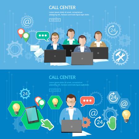 service desk: Technical support call center service flat banner vector illustration