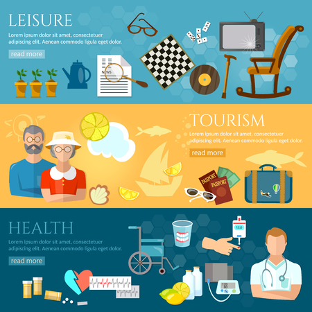retirement home: Nursing home banners pensioner active lifestyle social care for the elderly retirement home pension hobbies vector illustration