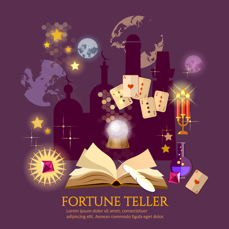 clairvoyant: Fortune teller magic book crystal ball astrology signs Illustration