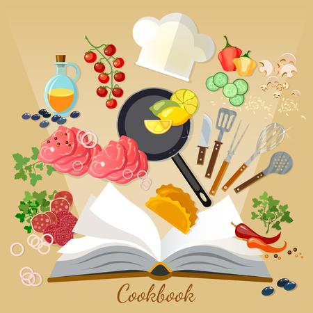 cookbook: Cookbook flat style cooking food creative cooking Illustration