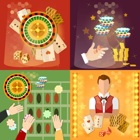 croupier: Casino and gambling set casino games symbols croupier vector illustration
