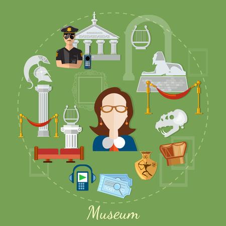 exposition: Museum tour guide science exposition ancient civilizations vector illustration