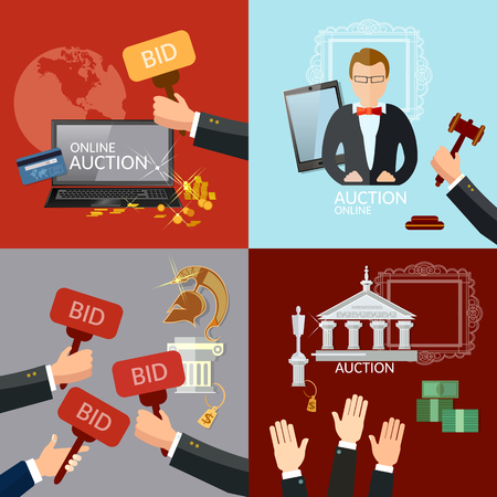 house exchange: Auction and bidding set selling antiques vector illustration