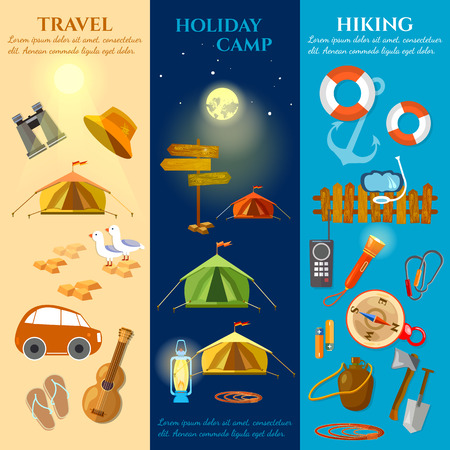 backpacking: Tourism and travel banners summer holidays hiking camping backpacking vector illustration Illustration