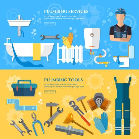 Service de plomberie réparation bannière plombier professionnel tuyau d'eau réparation