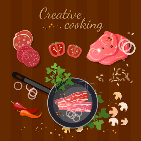 fresh meat: Fresh meat in a frying pan delicious pieces of meat food background