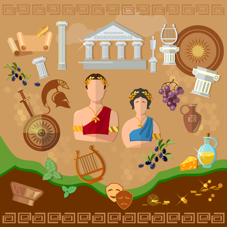 ancient rome: Ancient Greece Ancient Rome tradition and culture vector illustration