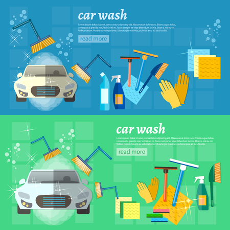 Car wash banner clean car auto cleaner washer shower service vector illustration Stock Illustratie