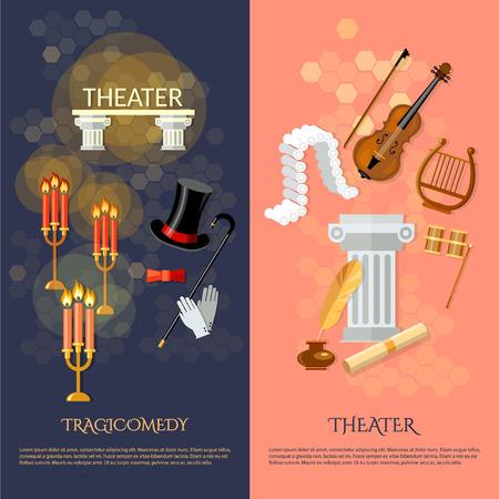 operetta: Theatre banner theater musical operetta entertainment and performance elements literature dramaturgy vector