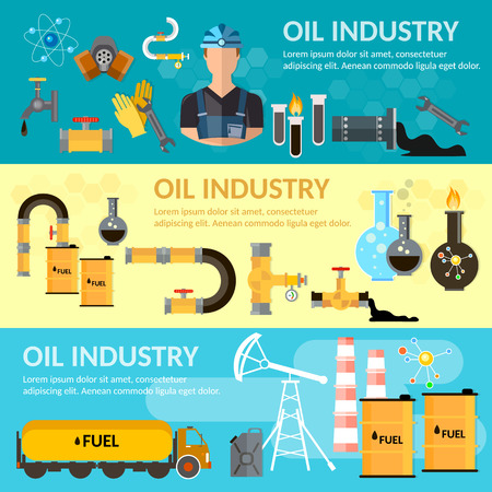 benzene: Oil industry banner oil refining extraction and processing of oil products vector