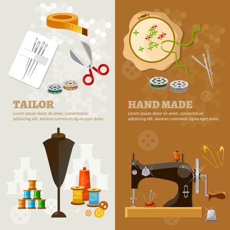 seamstress: Tailor banners tailoring tools seamstress fashion designer needlework vector illustration