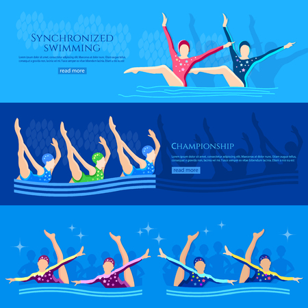 synchronized: Synchronized swimming banners water sport swimmers team vector illustration