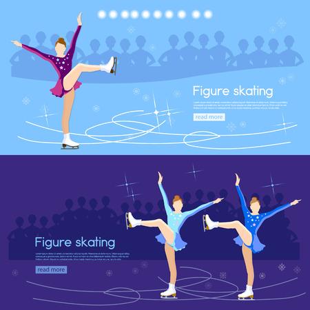 choreography: Figure skating banner ice dancing winter sport figure skating cute girl training on the ice vector illustration Illustration