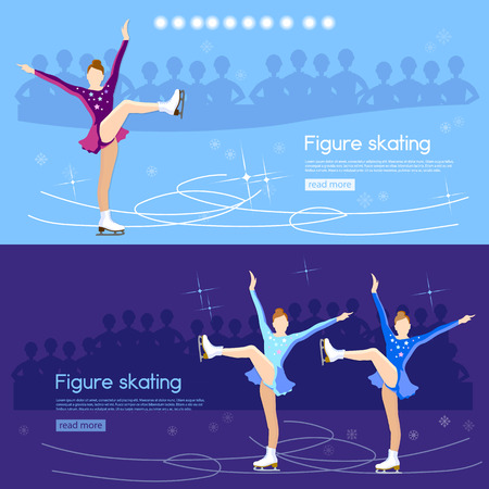 Figure skating banner ice dancing winter sport figure skating cute girl training on the ice vector illustration Illustration