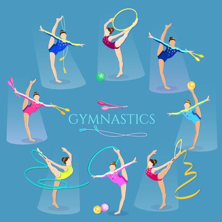 gymnasts: Gymnastics girls gymnasts artistic and rhythmic gymnast exercise vector illustration