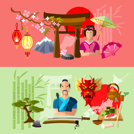 spring roll: Japanese tradition and culture banner vector illustration