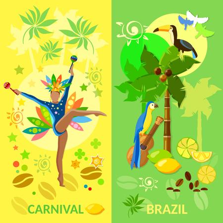 Brazil banners Carnival Brazilian Brazilian culture jungle Brazil vector illustration