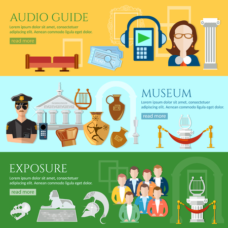 tour guide: Museum banner tour guide at the museum group excursions antiquity and natural science exposition ancient civilizations vector illustration