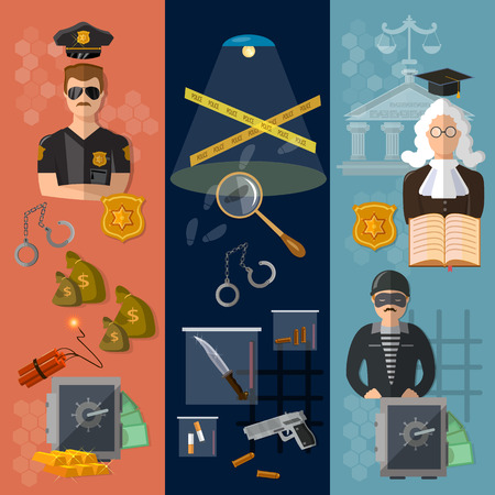 theft proof: Justice system banner crime and punishment judge in court criminal trial vector illustration