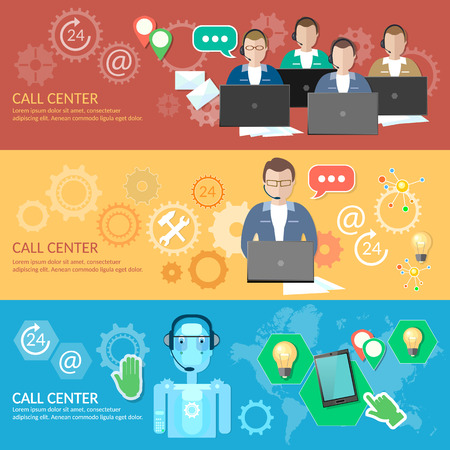 helpline: Call center banner 24 hours helpline operator with headphones professional technical support robotic system vector illustration