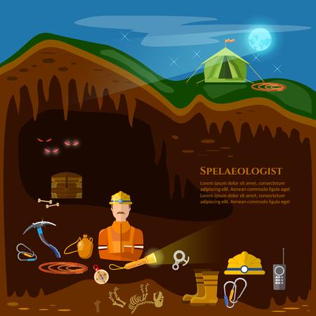 speleology: Speleology caves study underground mines professional speleologist vector illustration Illustration