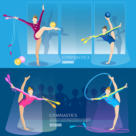 gymnasts: Gymnastics girls banner gymnasts artistic and rhythmic gymnast exercise rhythmic gymnastics championship vector illustration