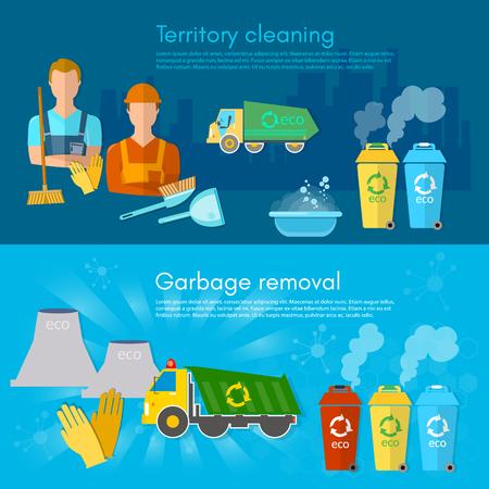waste separation: Garbage banner garbage sorting scavenger team sorting waste for recycling separation of waste on garbage bins vector
