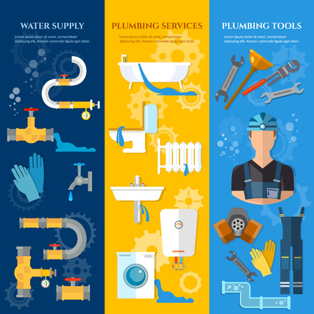 plumbing tools: Professional plumber banners plumbing repair plumbing tools plumbing service vector illustration