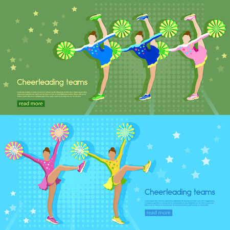 school sports: Cheerleading team banner girl cheerleaders dancing school sports championship vector illustration
