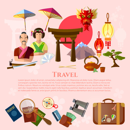 traditions: Travel to Japan japanese traditions and culture vacation in Japan vector illustration