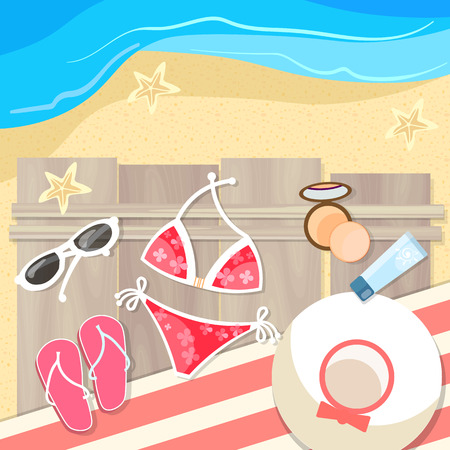 tropics: Summer vacation on the sea beach vacation trip to the tropics beach accessories vector illustration