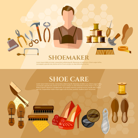 shoe repair: Shoemaker banners shoe repair shoe care professional equipment cobbler vector illustration Illustration
