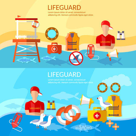 life jackets: Lifeguards banners work of a professional lifeguard on the beach vector
