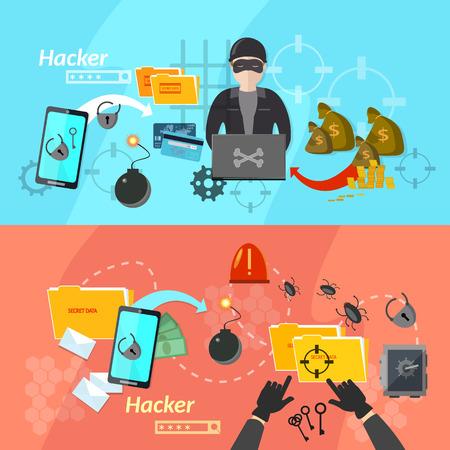 해커 배너 컴퓨터 바이러스 공격 휴대폰 해킹 암호 도난 벡터 일러스트 레이션 일러스트