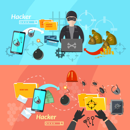theft: Hacker banners computer virus attacks mobile phone hacking password theft vector illustration Illustration