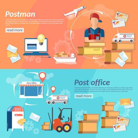 Poczta transparenty poziome listonosz poczta wysyłki i obsługi poczty ilustracji wektorowych