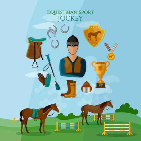 equestrian sport: Equestrian sport professional jockey horse riding flat vector