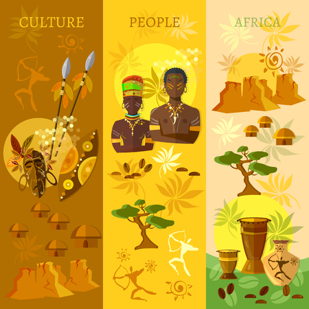 south african: African banner Africa culture and traditions vector illustration