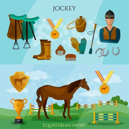 Equestrian sport professional jockey club jumping through a barrier on the horse vector illustration