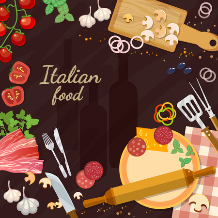 Pizza ingredients on the kitchen table italian food ingredients vector illustration