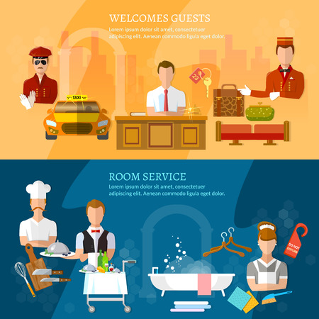 hotel staff: Hotel service banners hotel staff reception reservation cleaning concierge taxi driver  vector illustration