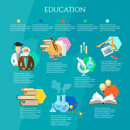 Education infographic open book of knowledge professor and student learning vector illustration Stock Illustratie