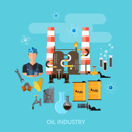 oil and gas industry: Oil industry gas station refining extraction and processing of oil products vector illustration