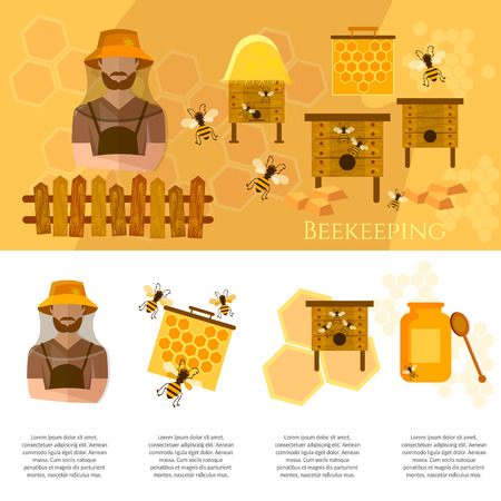 beekeeping: Honey and beekeeping industry infographics beekeeper on apiary vector Illustration