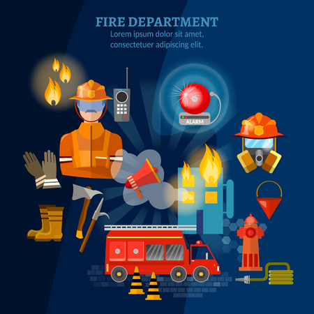 burning: Firefighters set fire station fire fighting extinguish burning house vector illustration