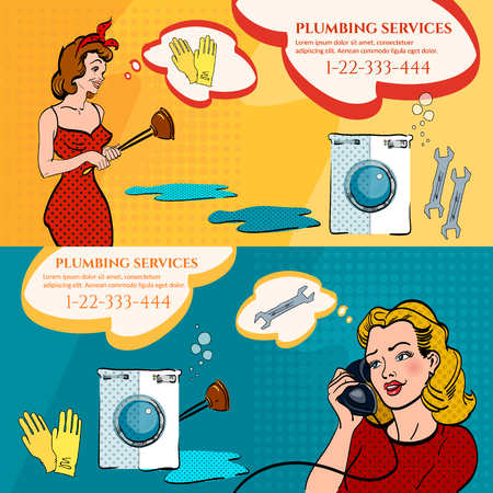 calling art: Professional plumber banners woman calling plumber pop art style vector illustration